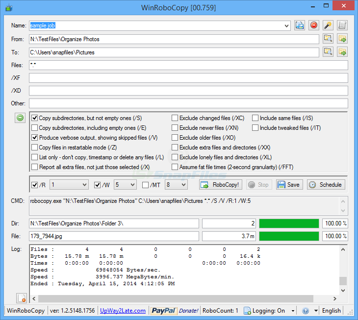 screen capture of WinRoboCopy