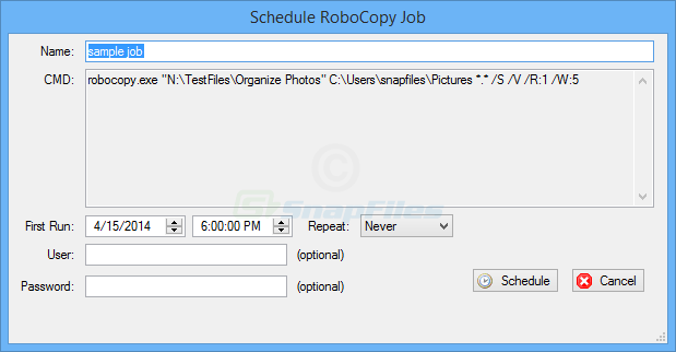screenshot of WinRoboCopy