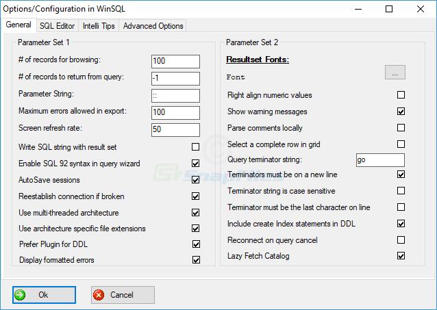 screenshot of WinSQL