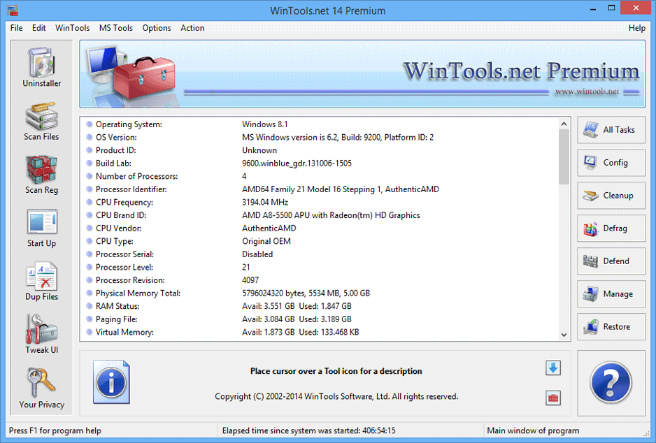 screen capture of WinTools.net Premium