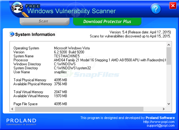 screen capture of Windows Vulnerability Scanner