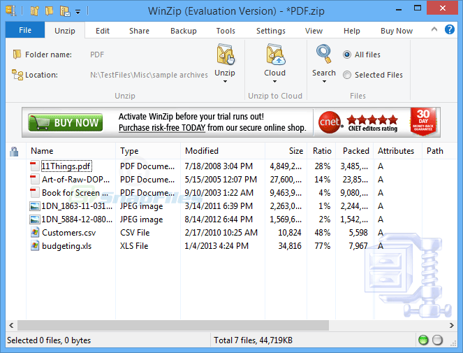 screen capture of WinZip