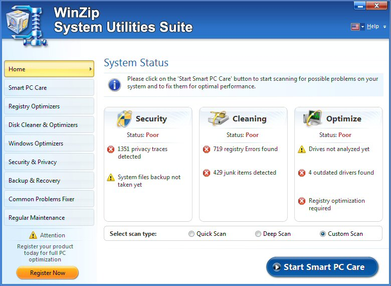 screen capture of WinZip System Utilities Suite