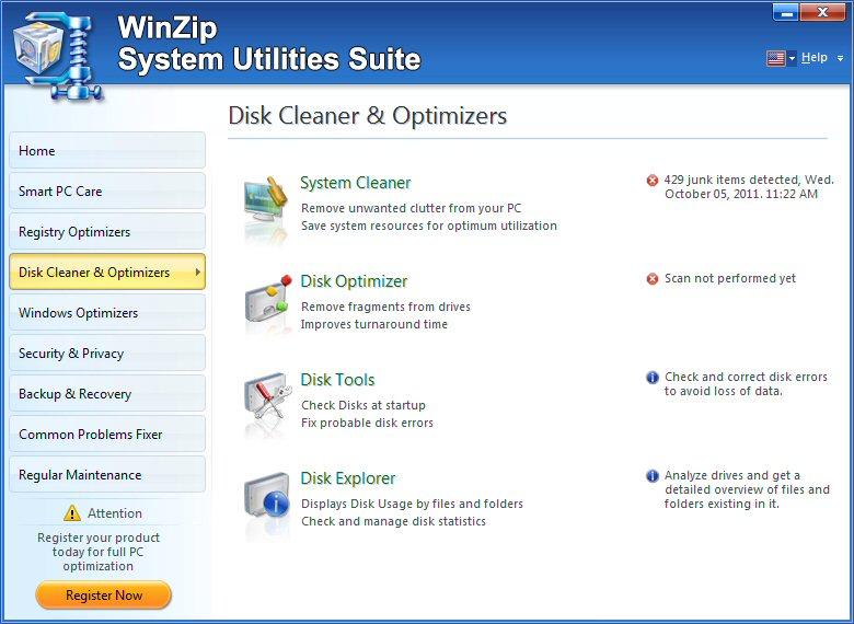 screenshot of WinZip System Utilities Suite