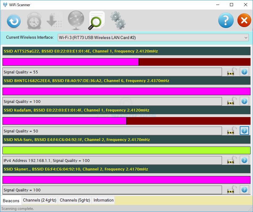 screen capture of WiScan
