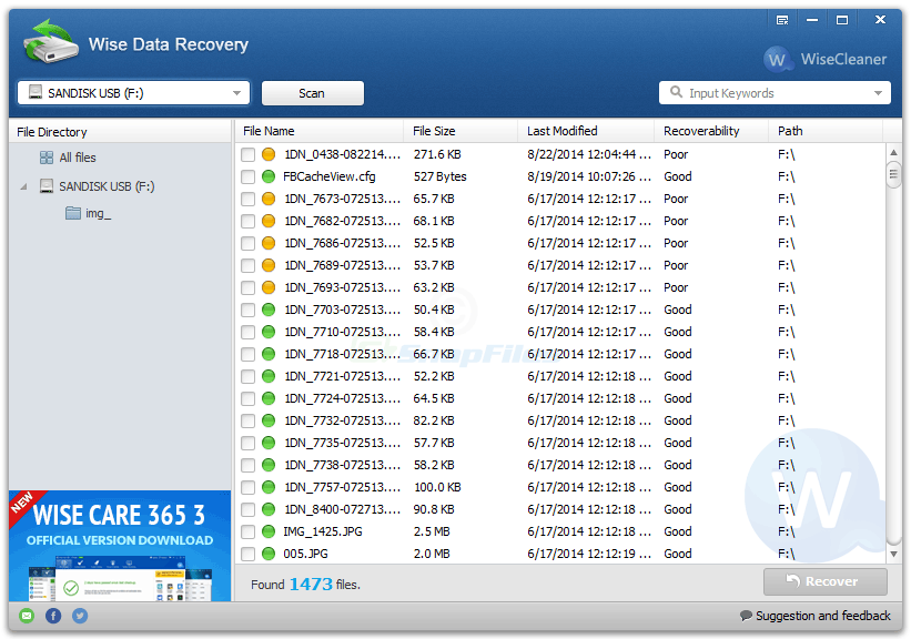 screen capture of Wise Data Recovery
