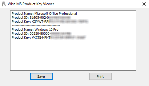 screen capture of Wise Windows Key Finder