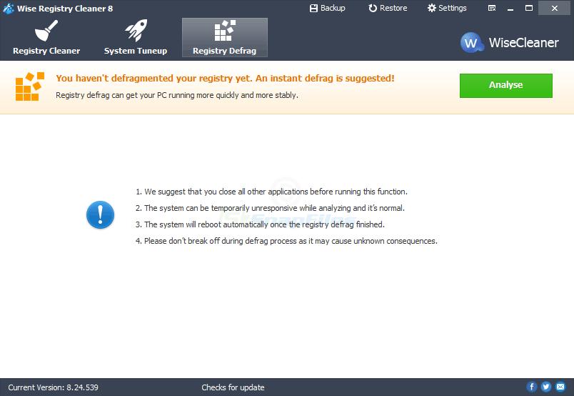 screenshot of Wise Registry Cleaner Free