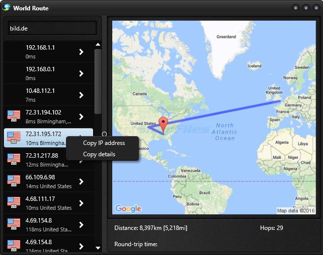 screenshot of World Route