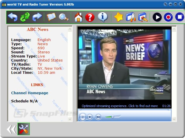 screen capture of World TV and Radio Tuner