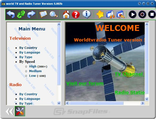 screenshot of World TV and Radio Tuner