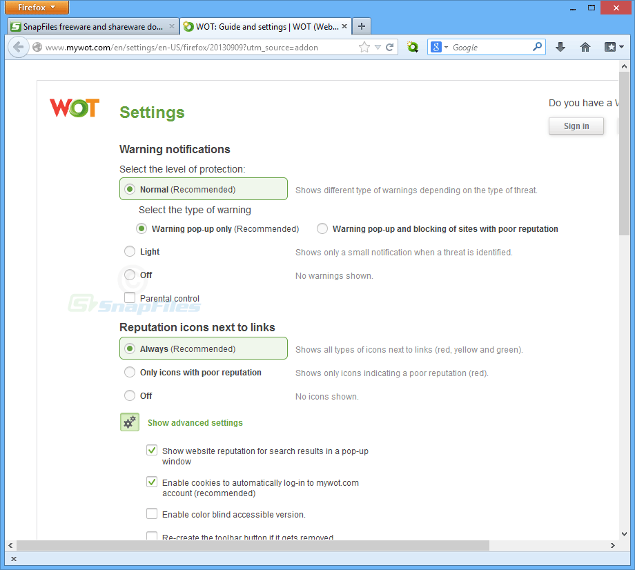 screenshot of WOT for Firefox
