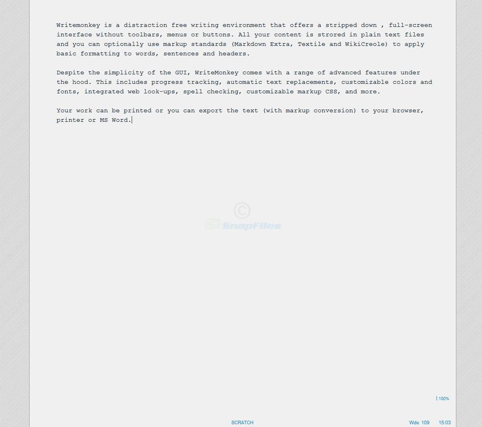 screen capture of Writemonkey