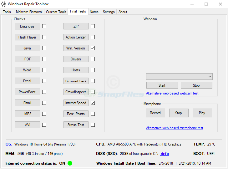 screenshot of Windows Repair Toolbox
