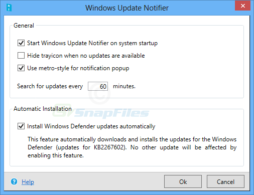 screen capture of Windows Update Notifier