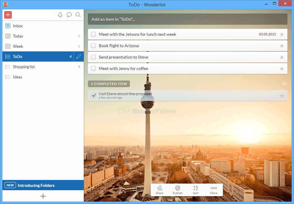 screen capture of Wunderlist