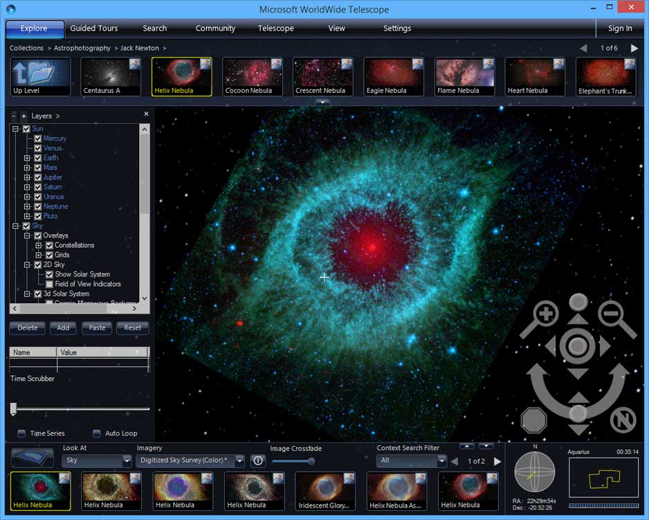 screen capture of WorldWide Telescope