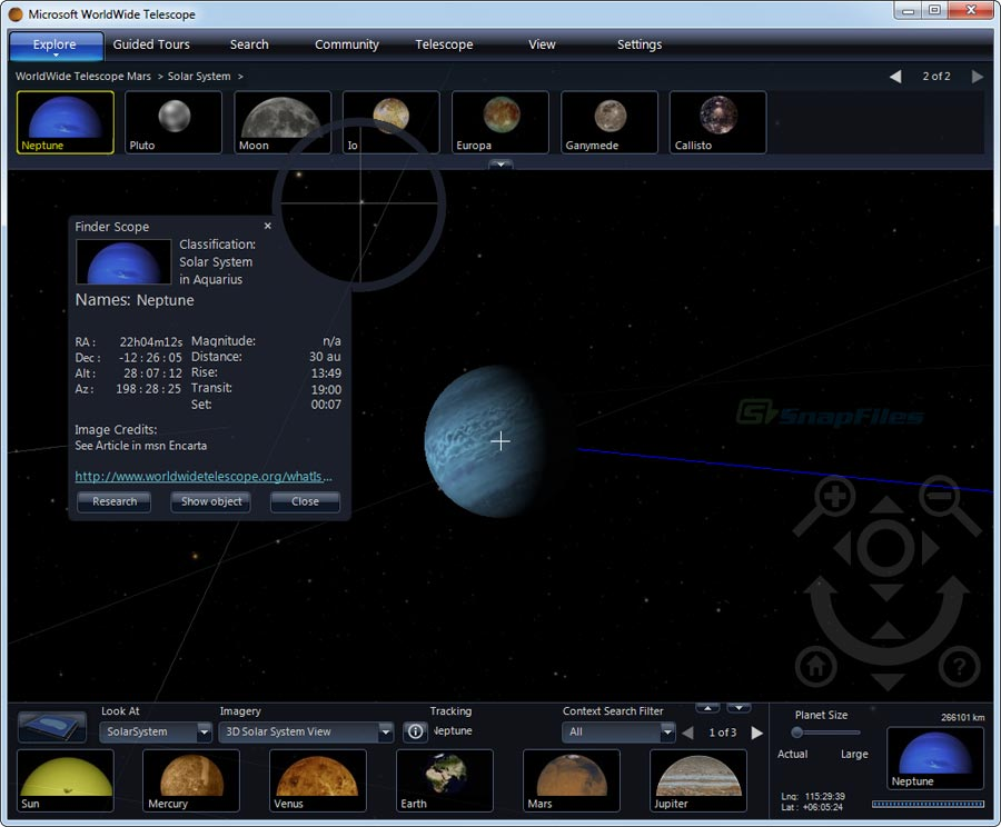 screenshot of WorldWide Telescope