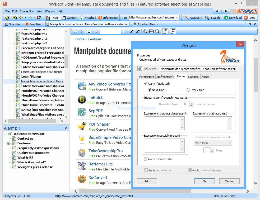 screenshot of Wysigot Light