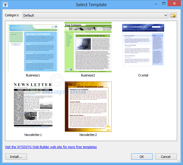 screenshot of WYSIWYG Web Builder