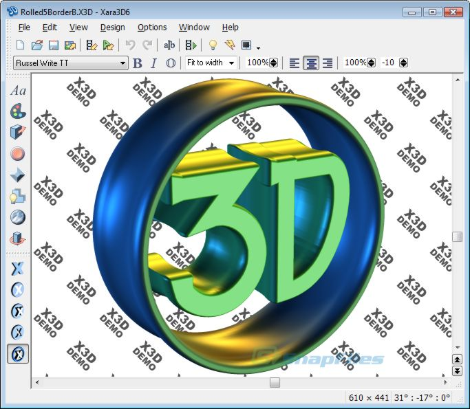 screen capture of Xara 3D