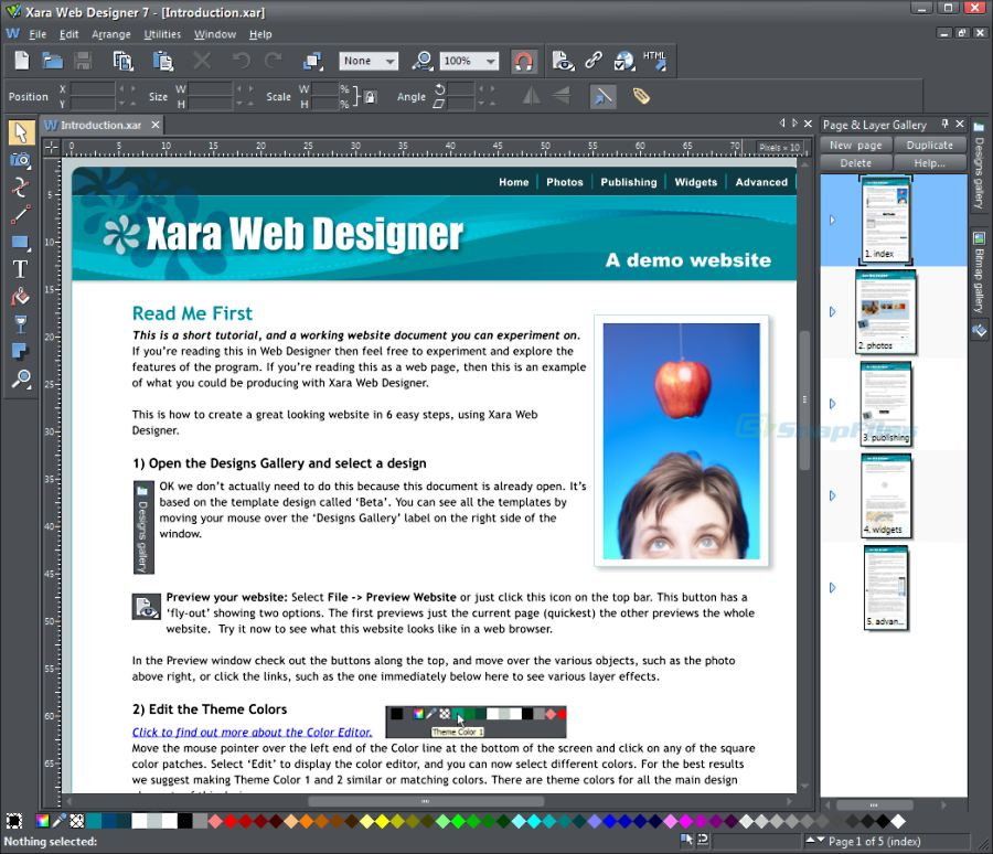 screen capture of Xara Web Designer 365