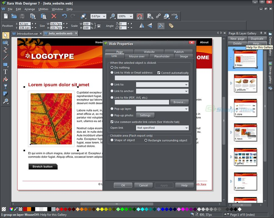 screenshot of Xara Web Designer 365
