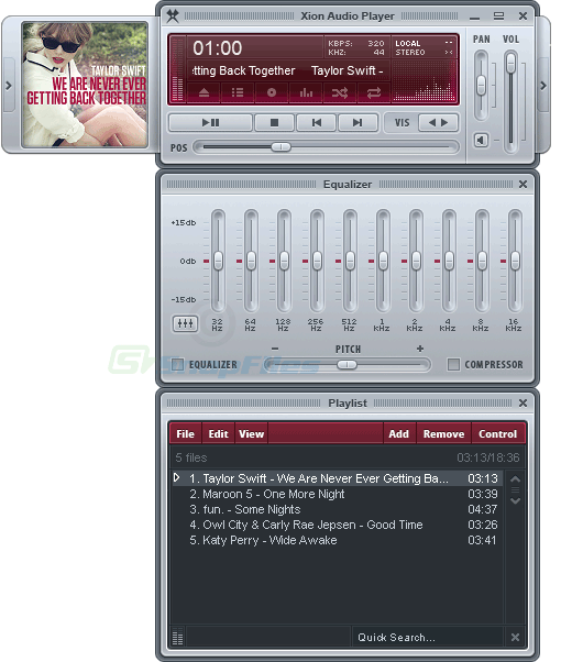 screen capture of Xion Audio Player