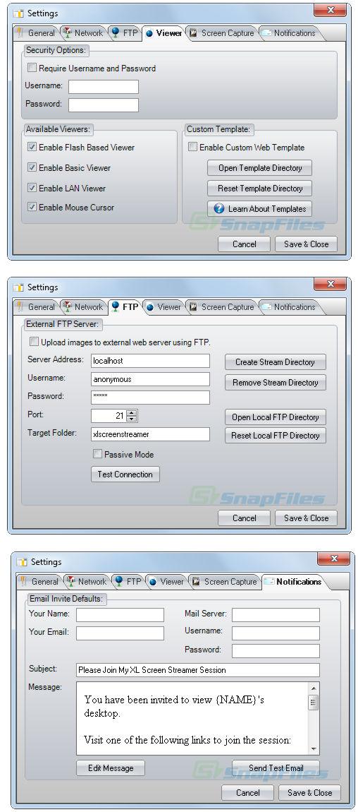 screenshot of XL Screen Streamer