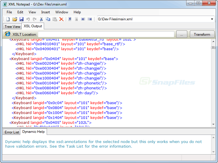 screenshot of Microsoft XML NotePad 2007