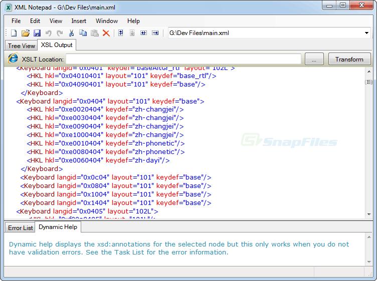 Microsoft XML NotePad 2007 screenshot and download at