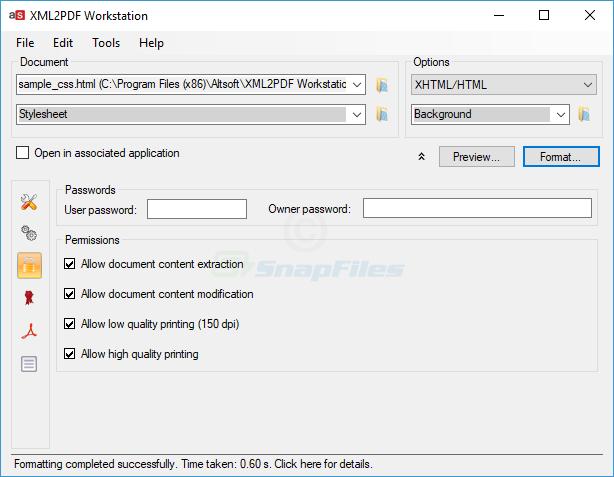 screenshot of XML2PDF Workstation