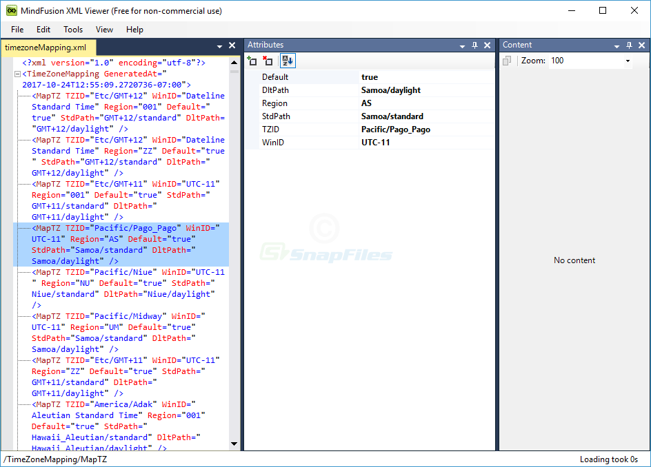 screen capture of XML Viewer