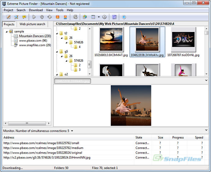 screen capture of Extreme Picture Finder