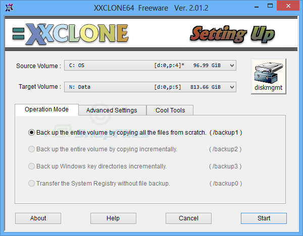 screen capture of XXCLONE Freeware