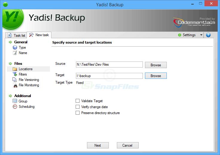 screenshot of Yadis! Backup