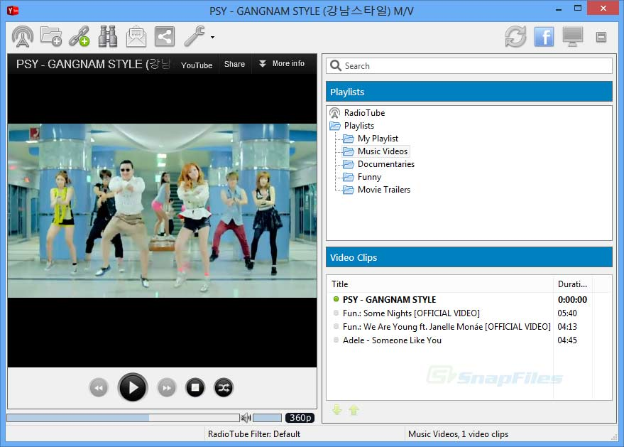screen capture of YTubePlayer