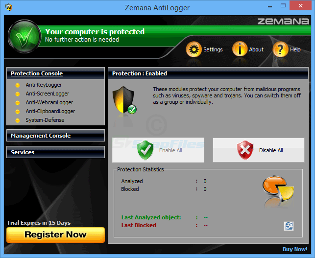 screen capture of Zemana AntiLogger
