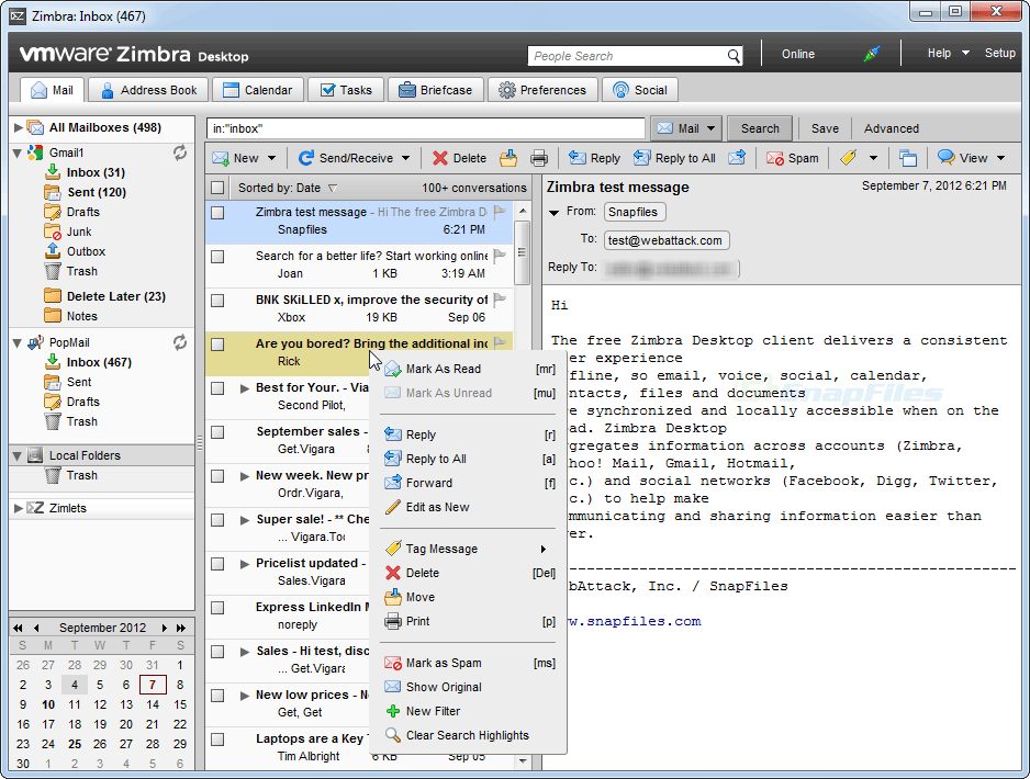 screen capture of Zimbra Desktop