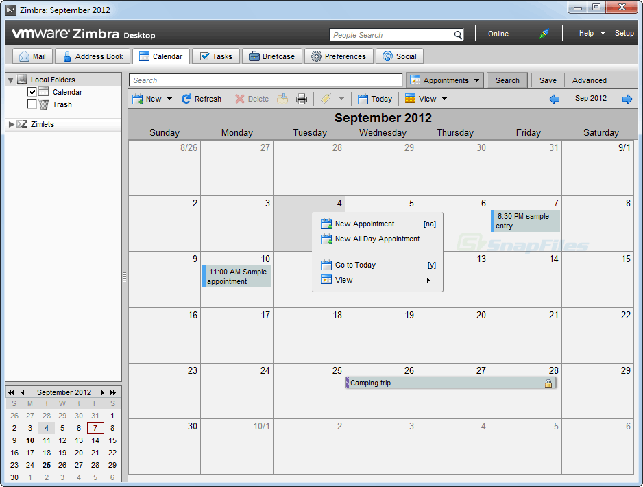 screenshot of Zimbra Desktop