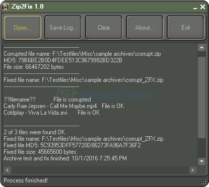 screenshot of Zip2Fix