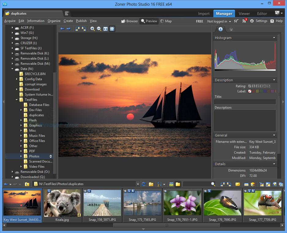 screen capture of Zoner Photo Studio Free