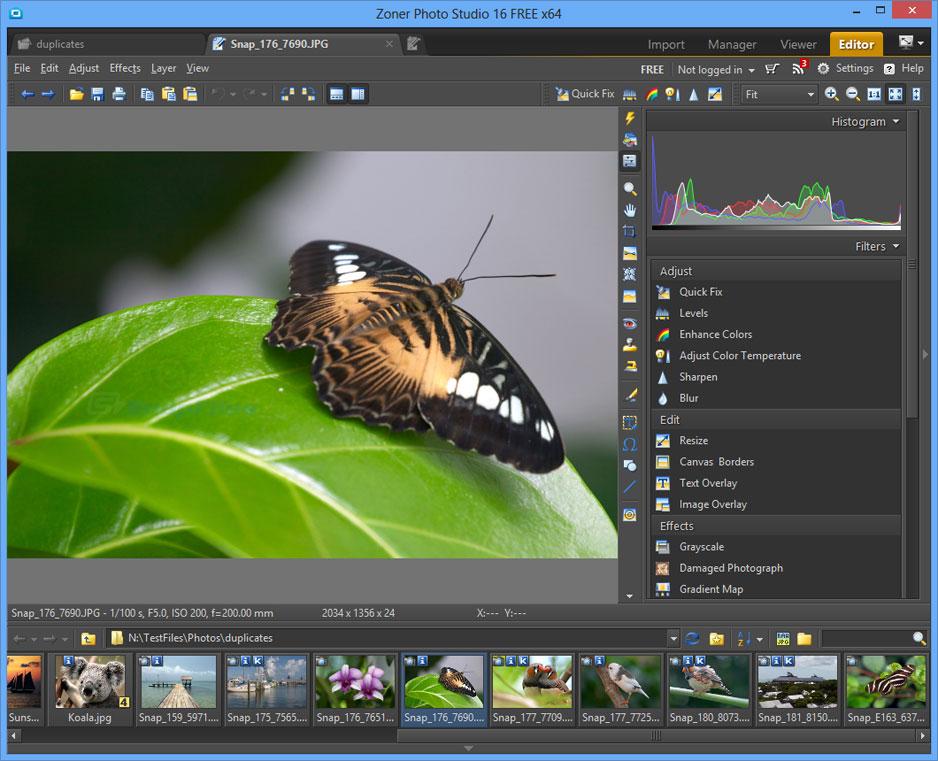 screenshot of Zoner Photo Studio Free