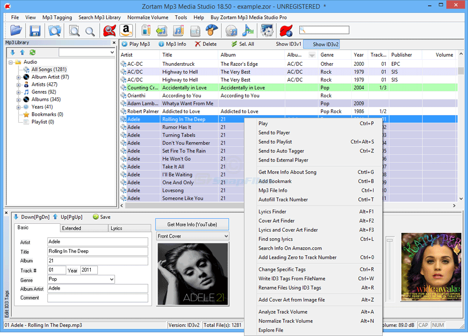screen capture of Zortam Mp3 Media Studio