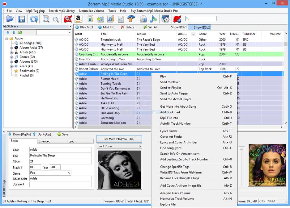 screen capture of Zortam Mp3 Media Studio